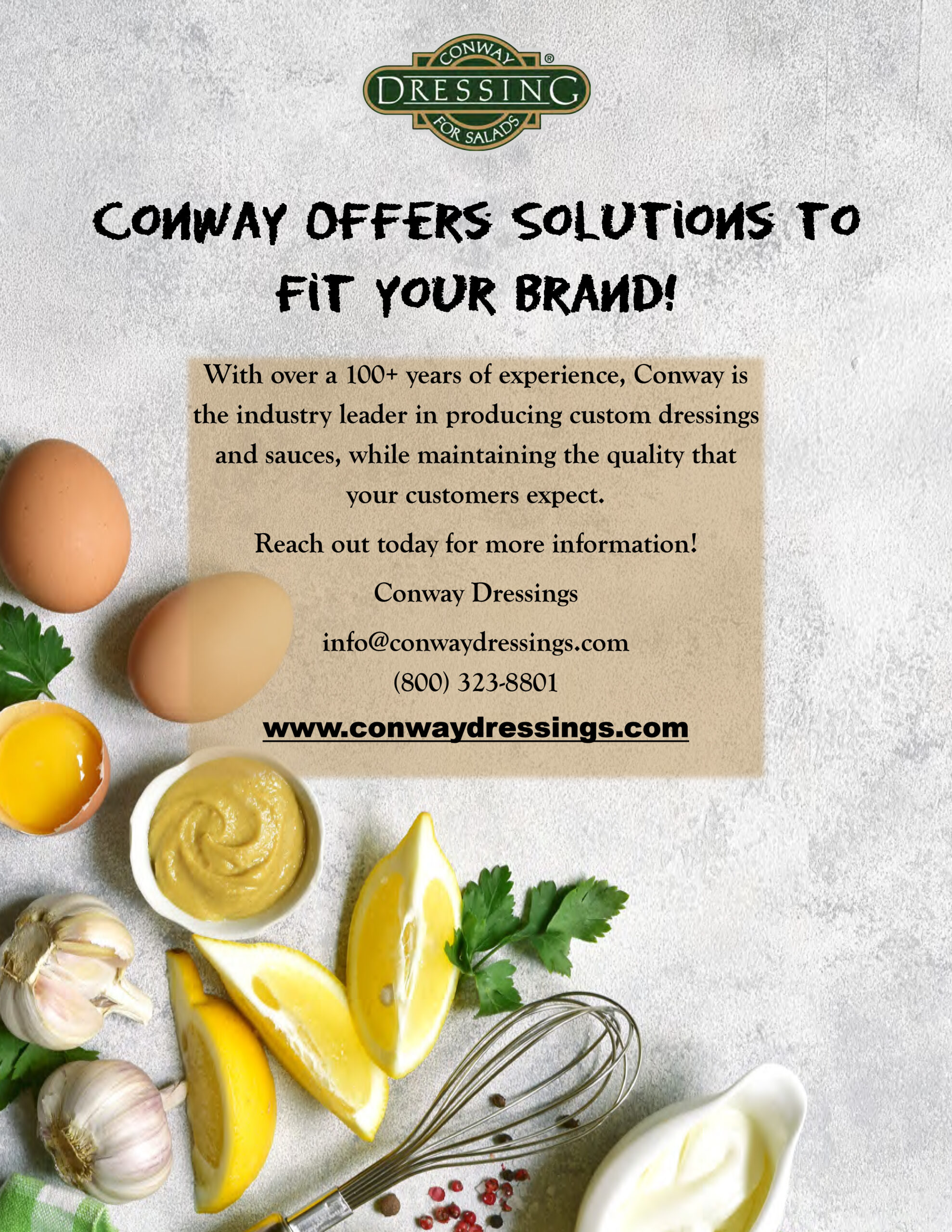 Custom Salad dressings and sauces for restaurants